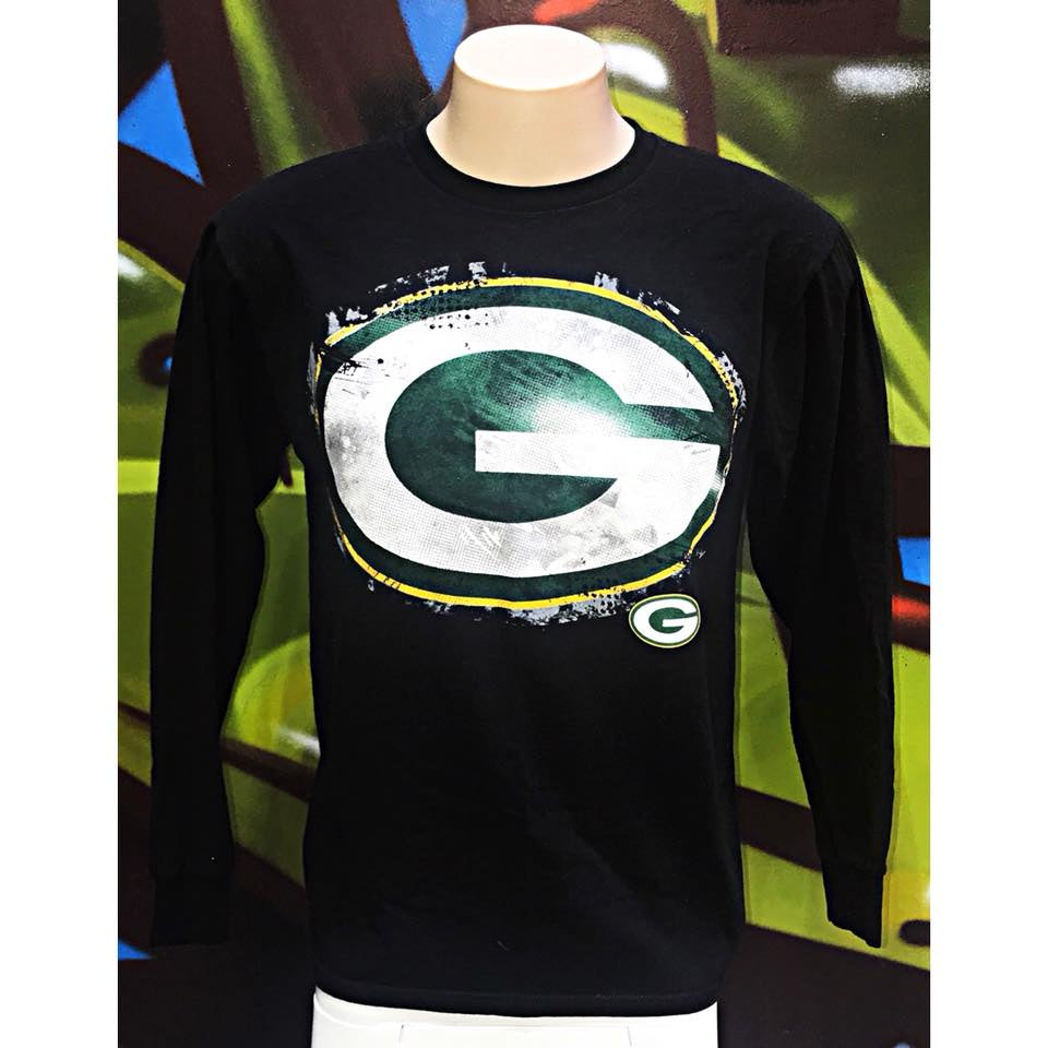 "Adults M NFL Team Apparel Green Bay Packers ""G"" Long Sleeve Shirt"