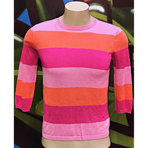 Womens M Lauren Ralph Lauren Striped Thin Knot Crewneck Sweater