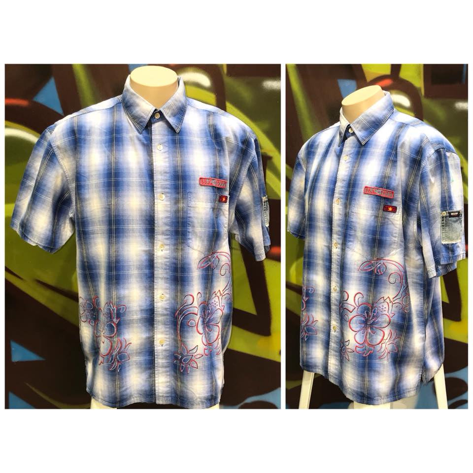 Adults L Bugle Boy Camp Hawaiian Plaid Shirt