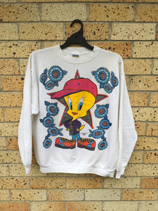 Vtg 90s Men's Sz L Warner Bros Tweety Bird sweater $70 🔥