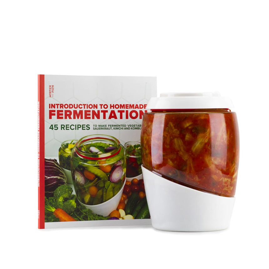 2L Glass Fermentation Jar with Ceramic Fermentation Weight and Recipe Book