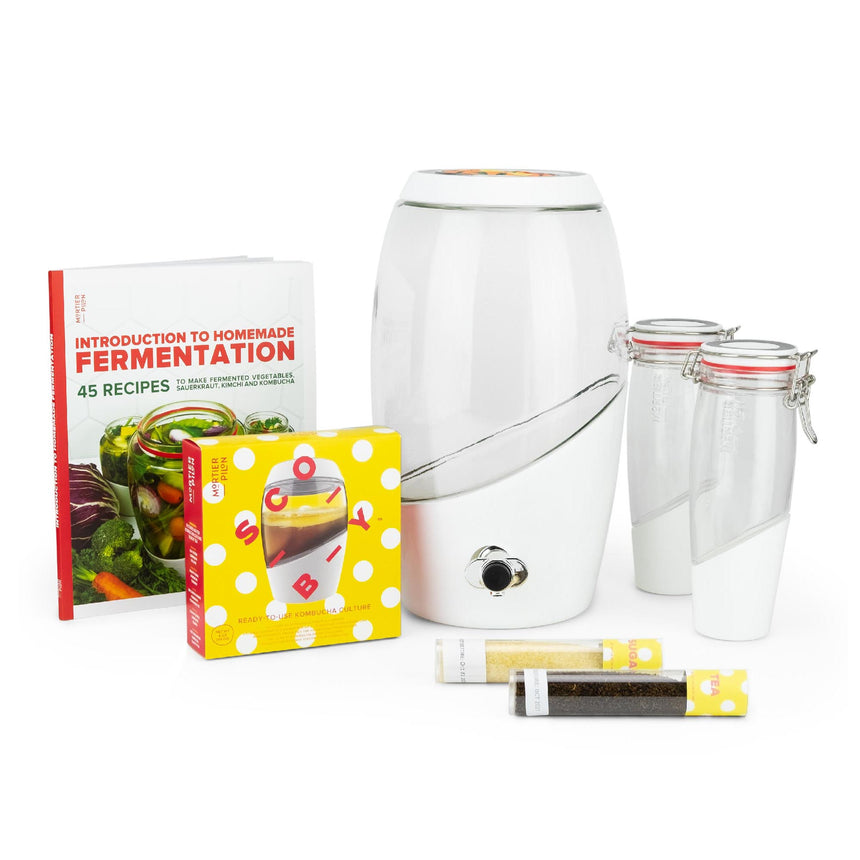 Complete Kombucha Brewing Starter Kit with Kombucha Scoby, Jar, Bottles and Recipe Book