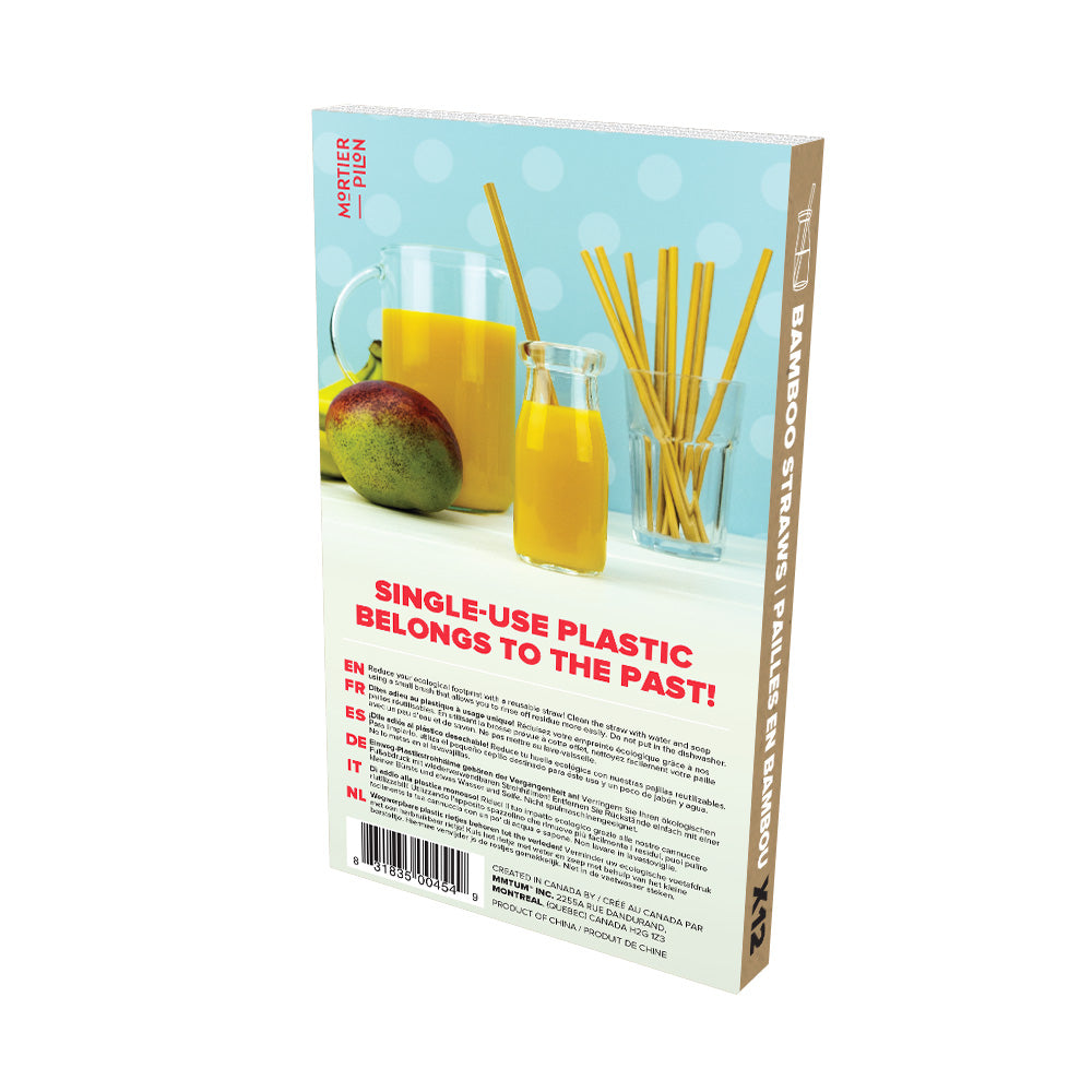 12 Reusable Bamboo Straws with Brush to Clean