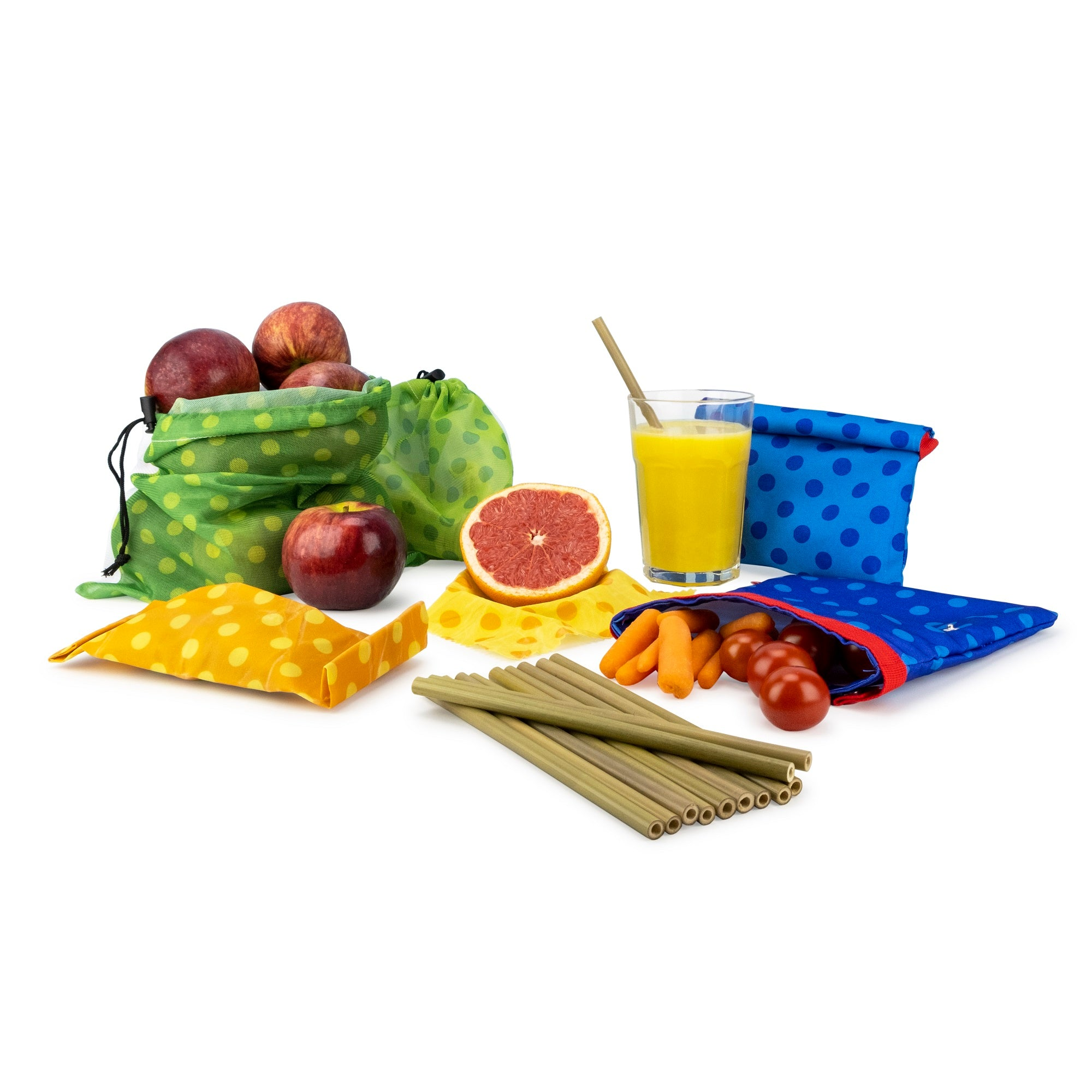 Set of Reusable Bags, Wraps and Straws for a Zero Waste Start