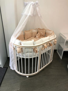 6 in 1 LUXE GOLD Round Crib Transformer Colour: White