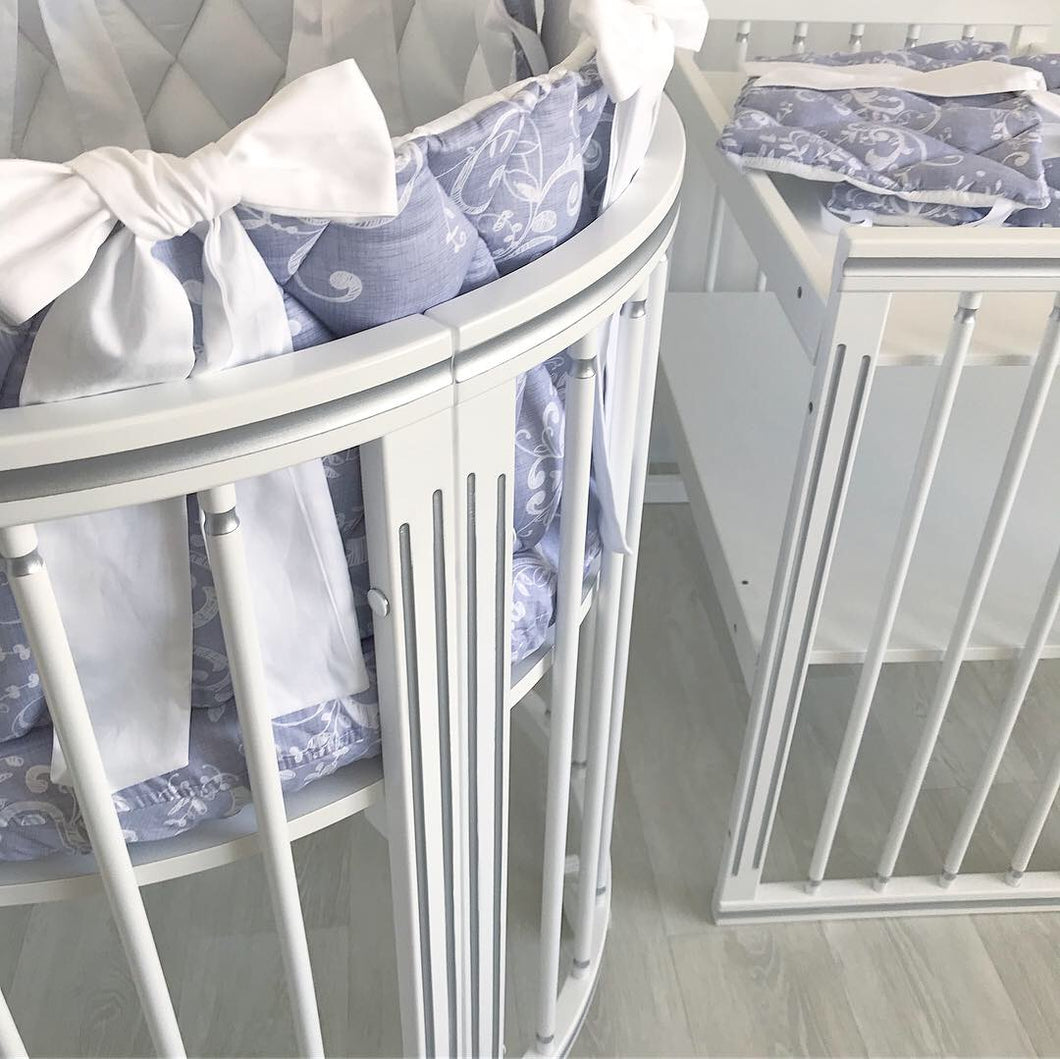 8 in 1 LUXE Silver Round Crib Transformer Colour: White