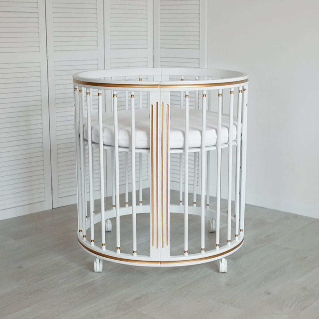 8 in 1 LUXE GOLD Round Crib Transformer Colour: White