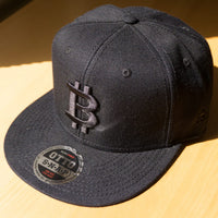 Bitcoin Wool Blend Snapback Cap - Black 3D Puff on Black