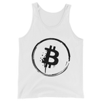 Bitcoin Grunge Unisex Tank Top in White