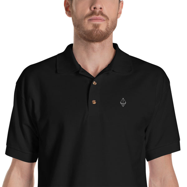 Ethereum Outline Embroidered Polo Shirt in Black