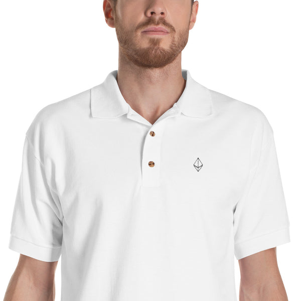 Ethereum Outline Embroidered Polo Shirt in White