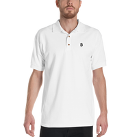 Classic Bitcoin Embroidered Polo Shirt in White
