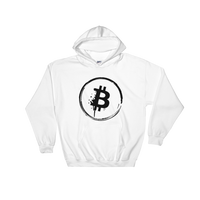 Grunge Bitcoin Hooded Sweatshirt in White