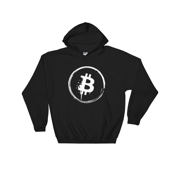Grunge Bitcoin Hooded Sweatshirt in Black