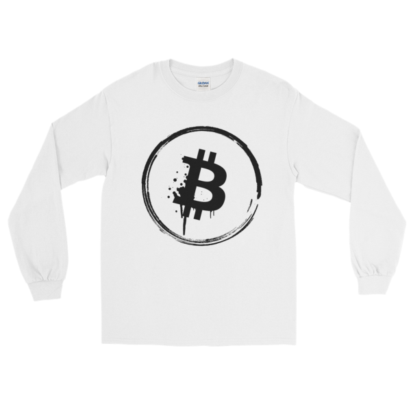 Bitcoin Grunge Long Sleeve T-Shirt on White