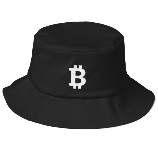 Bitcoin Old School Bucket Black Hat - White on Black