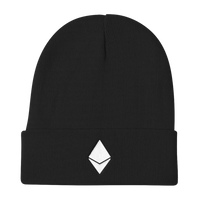 Ethereum Solid Knit Beanie in Black