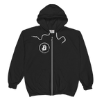 Grunge Bitcoin Unisex Zip Hoodie in Black