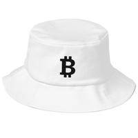 Bitcoin Old School Bucket Hat - Black on White
