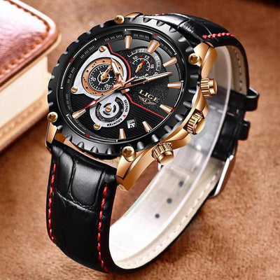 LIGE Sports Chronograph Leather Watch