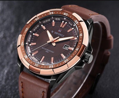 NAVIFORCE Military Leather Watch