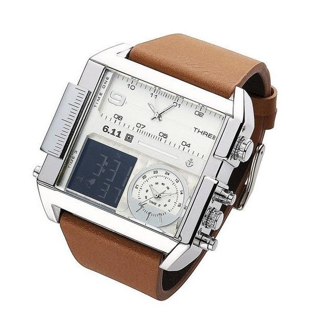 Retro Multi-Timezone Square Watch