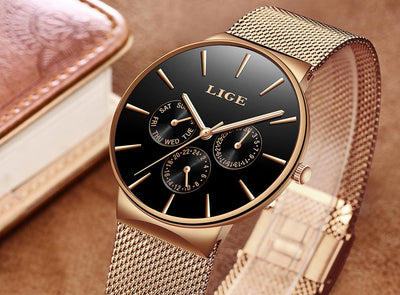 Lige Ultra Thin Mesh Watch