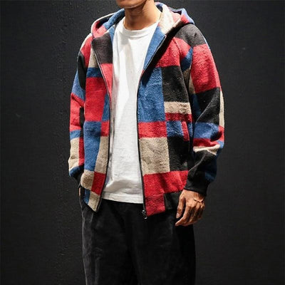 Red Plaid Hoodie Jacket