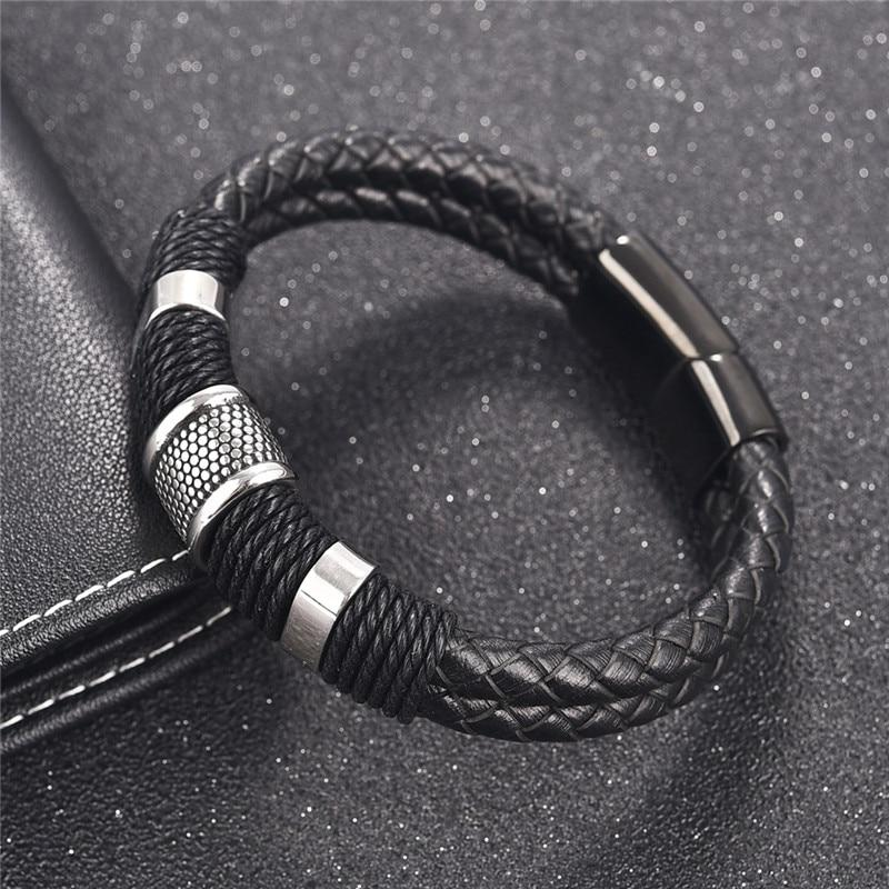 Jax Leather Steel Bracelet