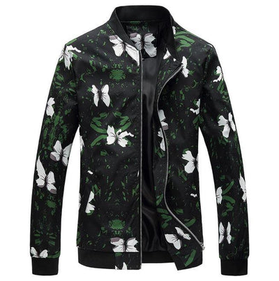 Black Floral Bomber Jacket