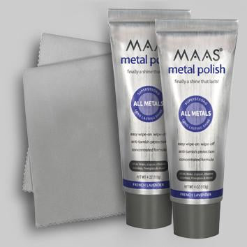 Maas Metal Polish: Two large 113g Tubes plus FREE Polishing Cloth - Maas Polish New Zealand