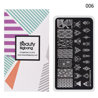 Negative Space Rectangle Nail Stamping Plate Triangle Geo Theme Nail Art Tool XL-006 (US warehouse)