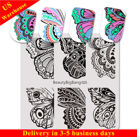 Butterfly Theme Wing Design Square Nail Art Stamping Plate BBBS-025 (US Warehouse)