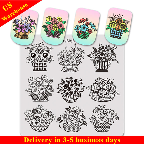 Flower Basket Vine Leaves Design Square Nail Art Stamping Plate BBBS-023 (US Warehouse)