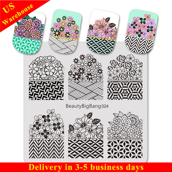 Plaid Flower Theme Square Nail Art Stamping Plate For Manicure BBBS-024 (US Warehouse)