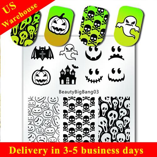 Halloween Pumpkin Nail Art Stamping Plate Skull Spider Design For Manicure (US warehouse)