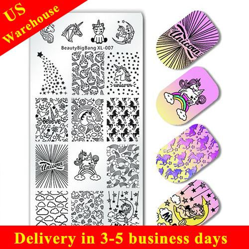Unicorn Rainbow Magic Rectangle Nail Stamping Plate For Manicure XL-007 (US warehouse)