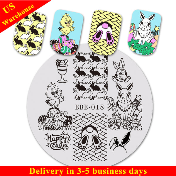 Animals Theme Rabbit Design Circle Nail Art Stamping Plate For Easter BBB-018 (US Warehouse)