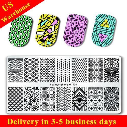 Geometry Series Rectangle Nail Stamping Plate Nail Art Tool XL-004 (US warehouse)