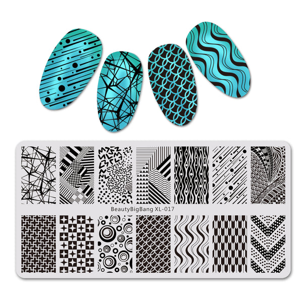 Geometric Theme Rectangle Nail Stamping Plate Irregular Pattern Nail Art Tool BBBXL-017