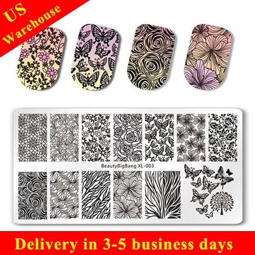 Flower Design Rectangle Nail Stamping Plate Butterfly Floral Theme Manicure Tool XL-003 (US warehouse)