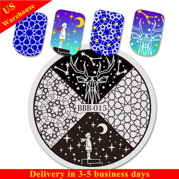 Starry Sky Theme Star Moon Design Circle Nail Art Stamping Plate BBB-015 (US Warehouse)