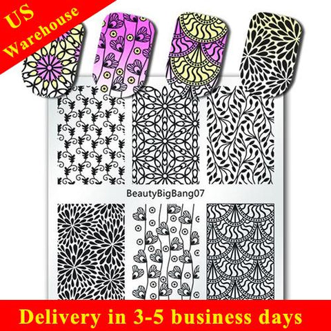 Flower Design Nail Stamping Plate Heart Leaf Theme For Manicure (US warehouse)