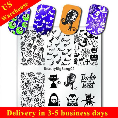 Halloween Ghost Nail Art Stamping Plate Skull Cat Pumpkin Pattern For Manicure (US warehouse)