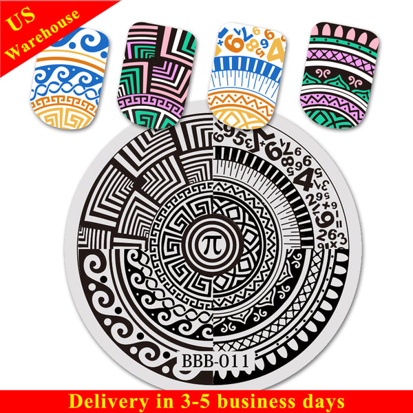 Geometric Theme PI Design Circle Nail Art Stamping Plate BBB-011 (US Warehouse)