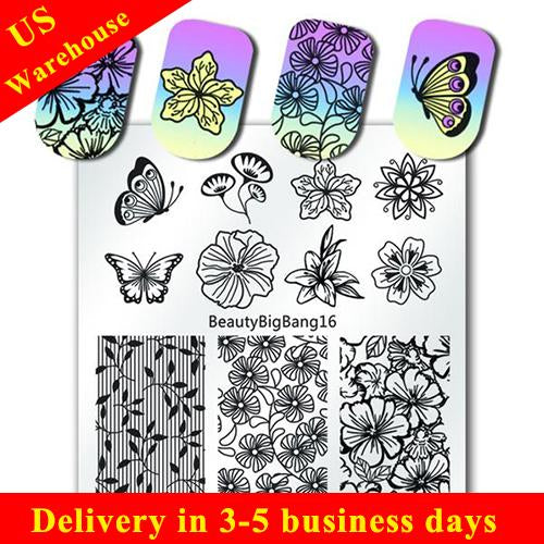 Flower Nail Stamping Plate Butterfly Floral Theme Manicure Tool (US warehouse)