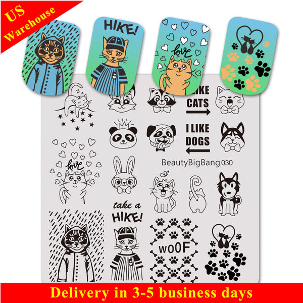 Animal Theme Design Square Nail Art Stamping Plate BBBS-030 (US Warehouse)