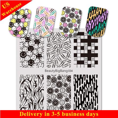 Mixed Element Pattern Square Nail Art Stamping Plate BBBS-034 (US Warehouse)