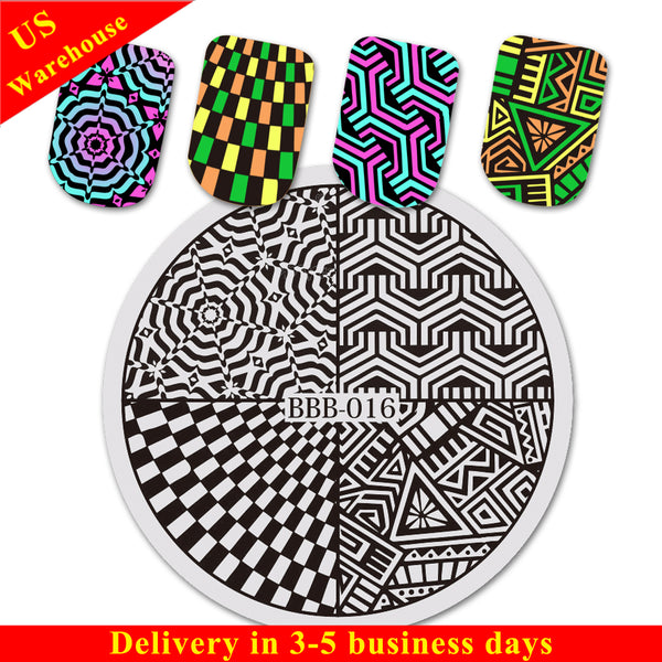 Geometric Pattern Circle Nail Art Stamping Plate For Manicure BBB-016 (US Warehouse)