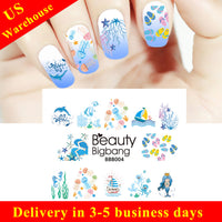 Summer Series Ocean Mermaid Water Decals Transfer Nail Art Stickers BBB004